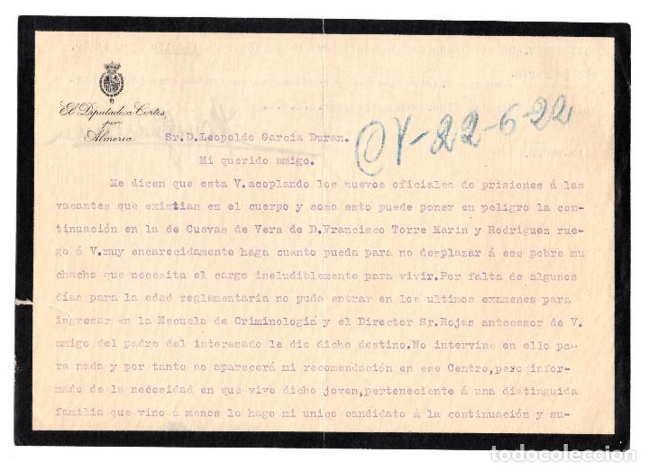 ALMERÍA.- PETICIÓN INDULTO. CÁRCEL, PRISIÓN. 1922.DIPUTADO CORTES. (Coleccionismo - Documentos - Otros documentos)