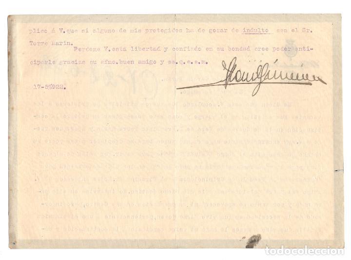 Documentos antiguos: ALMERÍA.- PETICIÓN INDULTO. CÁRCEL, PRISIÓN. 1922.DIPUTADO CORTES. - Foto 2 - 202719701