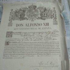 Documentos antiguos: DOCUMENTO DE ALFONSO 13. Lote 202740647
