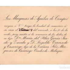 Documentos antiguos: PALENCIA.- INVITACIÓN MARQUESADO DE AGUILAR DE CAMPOÓ.. Lote 202764685
