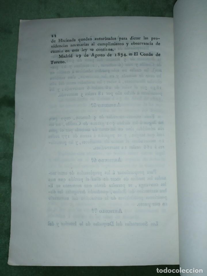 Documentos antiguos: 1834. 2 Proyectos de Ley sobre el Sistema Monetario. Conde de Toreno. - Foto 3 - 203049992
