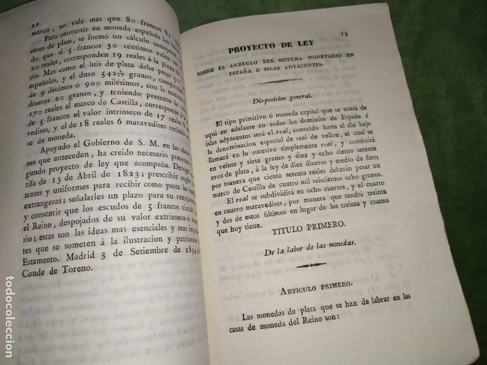 Documentos antiguos: 1834. 2 Proyectos de Ley sobre el Sistema Monetario. Conde de Toreno. - Foto 6 - 203049992