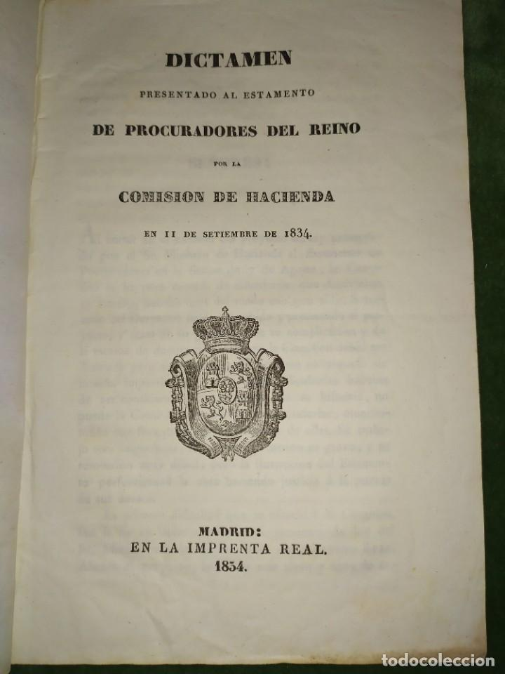 1834. DICTAMEN DE LA COMISIÓN DE HACIENDA. (Coleccionismo - Documentos - Otros documentos)
