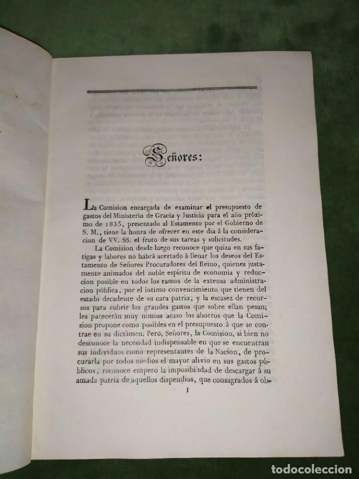 Documentos antiguos: 1834. Presupuesto de gastos clases de activos Ministerio de Gracia y Justicia de España. - Foto 6 - 203052475