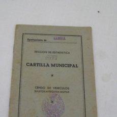 Documenti antichi: CARTILLA MUNICIPAL-CENSO DE VEHICULOS-SUJETOS A REQUISA MILITAR.1959.. Lote 203968928