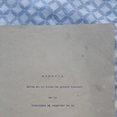 Documentos antiguos: MEMORIA EN LA JUNTA DE QUINCE ELECTOS DE LA COMUNIDAD DE REGANTES D LA ACEQUIA DE FAVARA 1939. Lote 204156335