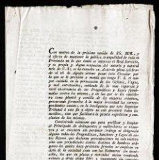 Documentos antiguos: CIRCULAR ORDENANDO LA PERSECUCIÓN DE OCIOSOS, VAGOS Y MALHECHORES. BARCELONA, 1802. BANDO. EDICTO.. Lote 204455591