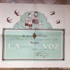 Documentos antiguos: DOCUMENTO: DIPLOMA CONCURSO NIÑOS GUAPOS (LA VOZ, 1935) EJEMPLAR ORIGINAL. COLECCIONISTA. Lote 204466997