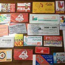 Documents Anciens: LOTE DE 20 PAPELETAS,RECIBOS,PEGATINAS PARTIDO COMUNISTA ESPAÑA ,IZQUIERDA UNIDA FIESTA PCE. Lote 204485696