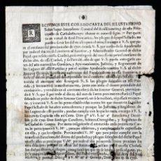 Documentos antiguos: COMUNICACIÓN DEL AYUNTAMIENTO DE GIRONA AL DE VERGES SOBRE USO PAPEL SELLADO. 1719. COLOMERS. ALBONS. Lote 204534315