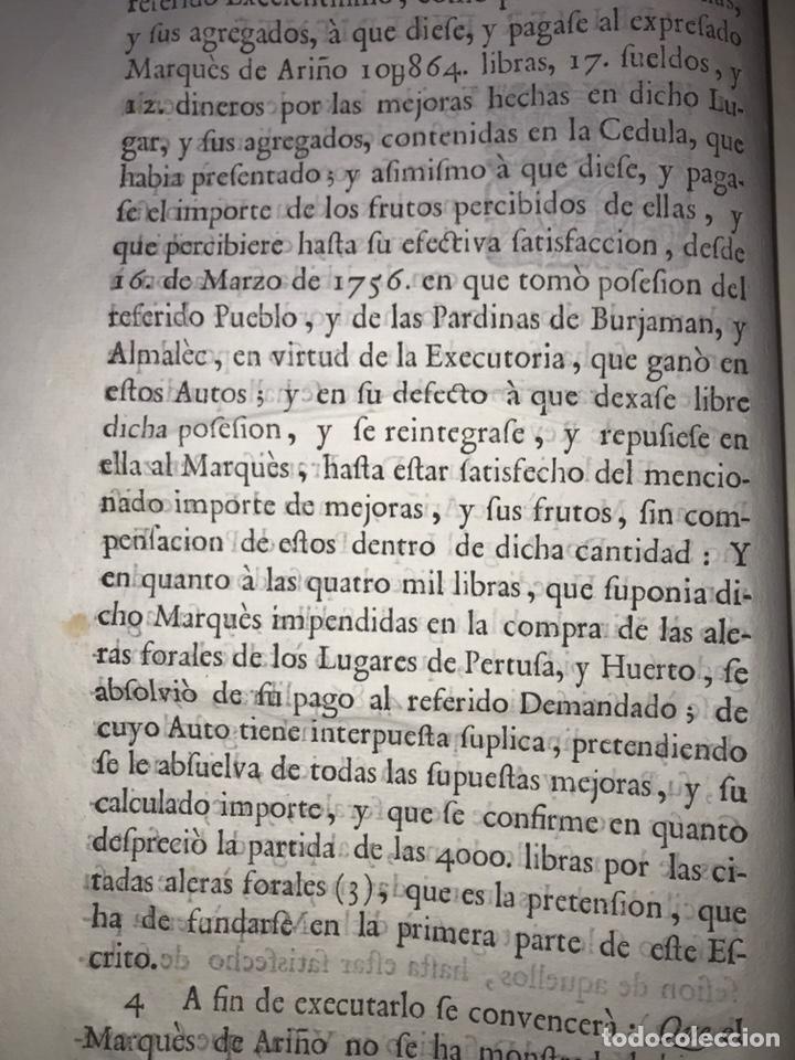 Documentos antiguos: SALILLAS, HUESCA 1770. MARQUÉS DE ARIÑO CONTRA LÓPEZ DE HEREDIA. CONSTRUCCIÓN PALACIO, RETABLO MAYOR - Foto 2 - 204650451