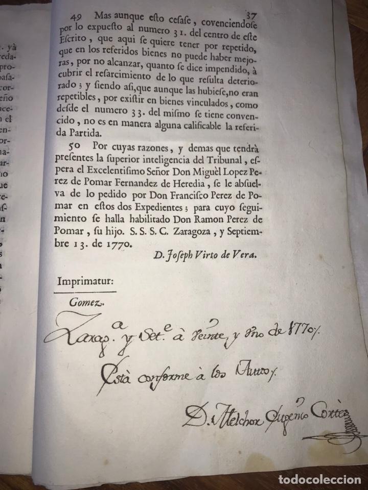Documentos antiguos: SALILLAS, HUESCA 1770. MARQUÉS DE ARIÑO CONTRA LÓPEZ DE HEREDIA. CONSTRUCCIÓN PALACIO, RETABLO MAYOR - Foto 5 - 204650451