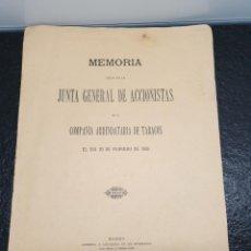 Documentos antiguos: MEMORIA DE LA JUNTA GENERAL DE ACCIONISTAS DE LA COMPAÑÍA ARRENDATARIA DE TABACOS 1895 (ENVÍO 4,31€). Lote 204734286