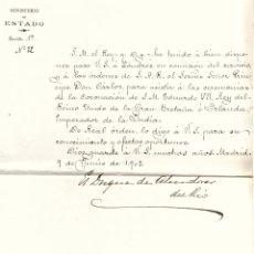 Documentos antiguos: TRASLADO DEL MARQUES DE VILLASINDA A LONDRES PARA CEREMONIA DE CORONACION DE S.M. EDUARDO VII. Lote 205006867
