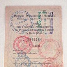 Documentos antiguos: SELLOS PASAPORTE USADOS DURANTE LA GUERRA FRIA EN BERLIN. Lote 205063073