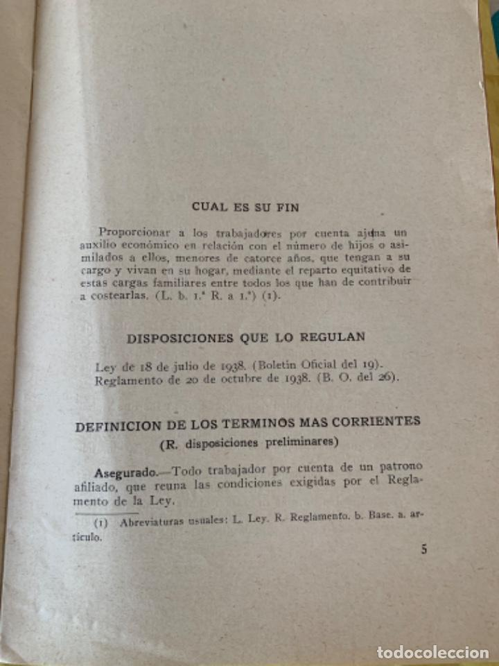Documentos antiguos: Documento, del Régimen Obligatorio Español de Subsidios Familiares - Foto 3 - 205099140