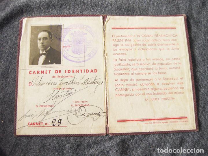 Documentos antiguos: CARNET DE SOCIO DE LA CORAL FILARMÓNICA PALENTINA - AÑOS 30 - PALENCIA - Foto 2 - 205341333