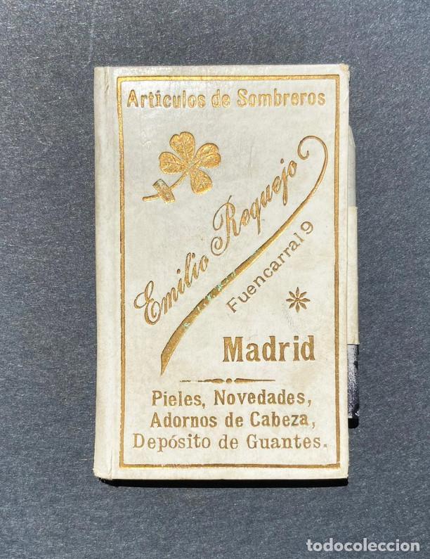 CARNET DE BAILE. PUBLICIDAD EMILIO REQUEJO. C/ FUENCARRAL. MADRID.ARTÍCULOS DE SOMBREROS. (Coleccionismo - Documentos - Otros documentos)