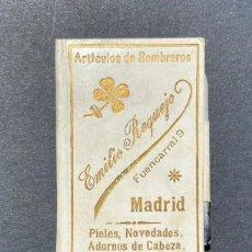 Documentos antiguos: CARNET DE BAILE. PUBLICIDAD EMILIO REQUEJO. C/ FUENCARRAL. MADRID.ARTÍCULOS DE SOMBREROS.. Lote 205383656