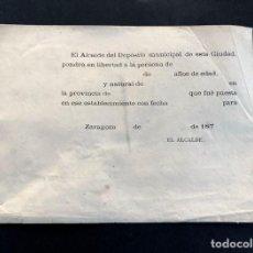 Documentos antiguos: ZARAGOZA 1870 / IMPRESO SIN RELLANAR / LIBERTAD DE PRESOS EN DEPOSITO MUNICIPAL. Lote 205431512