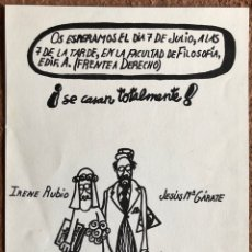 Documentos antiguos: INVITACIÓN DE BODA REALIZADA POR ANTONIO FRAGUAS FORGES EN 1972.. Lote 205461930