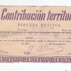 Documentos antiguos: 1961 - CONTRIBUCIÓN TERRITORIAL, RIQUEZA RUSTICA - RECIBO - CASTELLÓN DE LA PLANA (CASTELLÓN). Lote 205510247