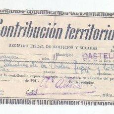 Documentos antiguos: 1961 - CONTRIBUCIÓN TERRITORIAL, RIQUEZA URBANA - RECIBO - CASTELLÓN DE LA PLANA (CASTELLÓN). Lote 205510362