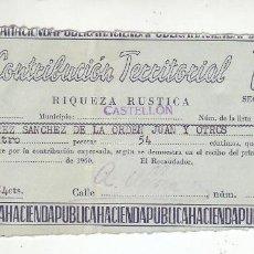 Documentos antiguos: 1960 - CONTRIBUCIÓN TERRITORIAL, RIQUEZA RUSTICA - RECIBO - CASTELLÓN DE LA PLANA (CASTELLÓN). Lote 205510537