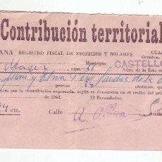 Documentos antiguos: 1962 - CONTRIBUCIÓN TERRITORIAL, RIQUEZA URBANA - RECIBO - CASTELLÓN DE LA PLANA (CASTELLÓN). Lote 205510558