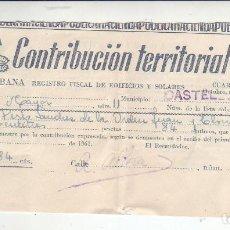 Documentos antiguos: 1961 - CONTRIBUCIÓN TERRITORIAL, RIQUEZA URBANA - RECIBO - CASTELLÓN DE LA PLANA (CASTELLÓN). Lote 205510628