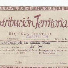Documentos antiguos: 1959 - CONTRIBUCIÓN TERRITORIAL, RIQUEZA RUSTICA - RECIBO - CASTELLÓN DE LA PLANA (CASTELLÓN). Lote 205510705