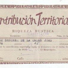 Documentos antiguos: 1959 - CONTRIBUCIÓN TERRITORIAL, RIQUEZA RUSTICA - RECIBO - CASTELLÓN DE LA PLANA (CASTELLÓN). Lote 205510768