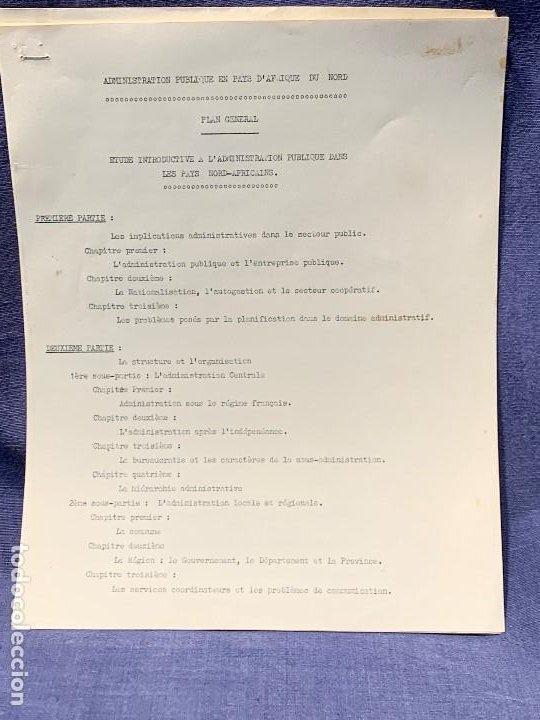 ESTUDIO FRANCES ADMNISTRACION PUBLICA EN PAISES NORTE AFRICA PLAN GENERAL AÑOS 60 ESTUDIO POLITICO (Coleccionismo - Documentos - Otros documentos)