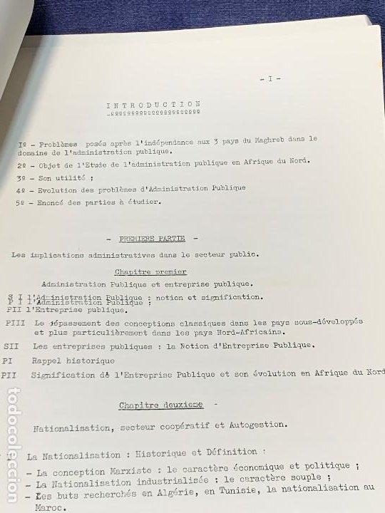 Documentos antiguos: estudio frances admnistracion publica en paises norte africa plan general años 60 estudio politico - Foto 4 - 205732715