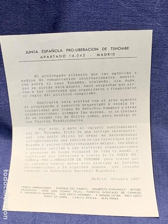 JUNTA ESPAÑOLA PRO LIBERACION CASO TSHOMBE RAPTO POLITICO CONGOLEÑO 1967 MADRID BLAS PIÑAR (Coleccionismo - Documentos - Otros documentos)