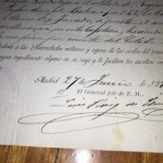 Documentos antiguos: FIRMA GENERAL EN JEFE ESTADO MAYOR. 1890 GUADALAJARA.. Lote 206280255