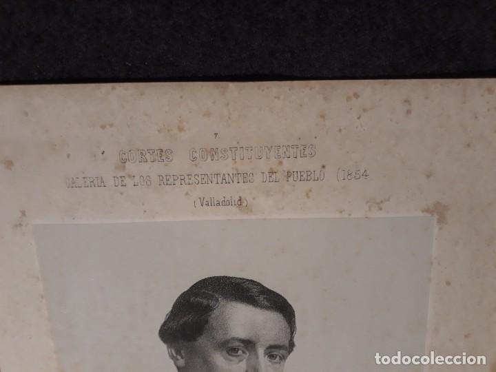 Documentos antiguos: Pedro Calvo Asencio, Valladolid. CORTES CONSTITUYENTES. GALERÍA DE REPRESENTANTES, 1854 SERIGRAFÍA - Foto 2 - 206295380