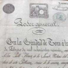 Documentos antiguos: PODER GENERAL EN LA CIUDAD DE TORO, ZAMORA. SELLO COLEGIO ABOGADOS. 1890. Lote 206302225