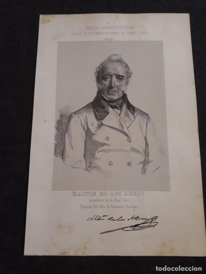 MARTÍN DE LOS HEROS. BURGOS. VIZCAYA.CORTE CONSTITUYENTES GALERÍA DE REPRESENTANTES 1854 SERIGRAFÍA (Coleccionismo - Documentos - Otros documentos)