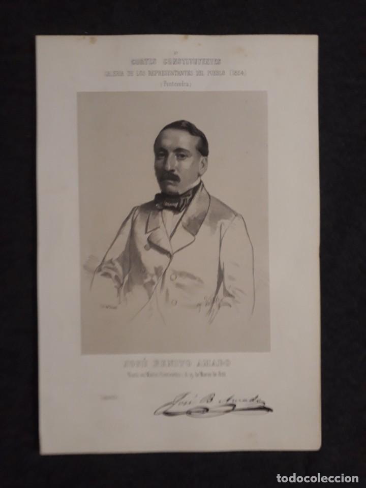 JOSÉ BENITO AMADO, PONTEVEDRA MARIN CORTE CONSTITUYENTES GALERÍA DE REPRESENTANTES 1854 SERIGRAFÍA (Coleccionismo - Documentos - Otros documentos)