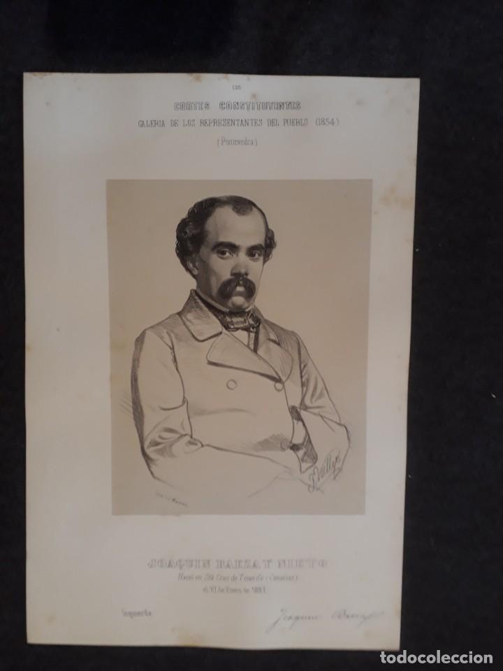 JOAQUÍN BAEZA Y NIETO. TENERIFE. PONTEVEDRA. CONSTIYENTES GALERÍA DE REPRESENTANTES 1854 SERIGRAFÍA (Coleccionismo - Documentos - Otros documentos)