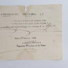 Documentos antiguos: EJERCITO DE OPERACIONES DEL NORTE. DIVISION VIZCAYA. SALVOCONDUCTO A ALGORTA. BILBAO 1874.. Lote 206869327