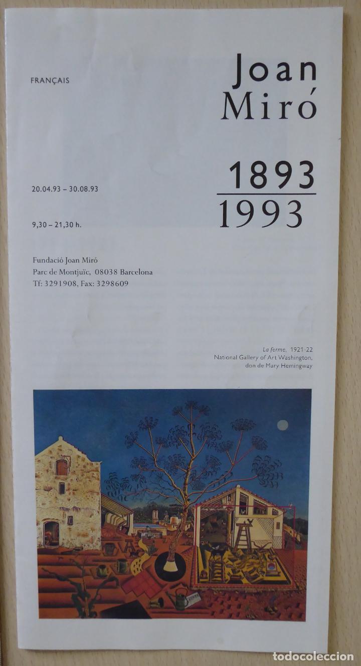 Documentos antiguos: Entrada y folleto (francés) de la Exposición Centenario de Joan Miró 1893-1993 (17,5 x 10 cm) - Foto 2 - 206918832