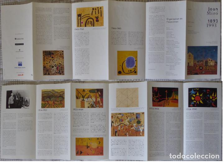 Documentos antiguos: Entrada y folleto (francés) de la Exposición Centenario de Joan Miró 1893-1993 (17,5 x 10 cm) - Foto 3 - 206918832