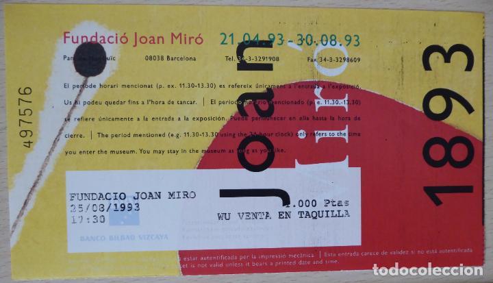ENTRADA Y FOLLETO (FRANCÉS) DE LA EXPOSICIÓN CENTENARIO DE JOAN MIRÓ 1893-1993 (17,5 X 10 CM) (Coleccionismo - Documentos - Otros documentos)
