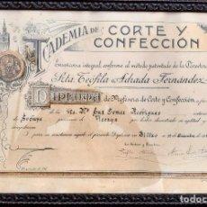 Documentos antiguos: DIPLOMA DE CORTE Y CONFECCIÓN 1951 ACADEMIA TEOFILA ADRADA .CURIOSO. Lote 207411707