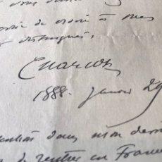 Documentos antiguos: CARTA MANUSCRITA Y FIRMADA JEAN MARTÍN CHARCOT. FUNDADOR NEUROLOGÍA MODERNA. PSICOANALI VIAJE ESPAÑA. Lote 207718323
