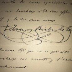 Documentos antiguos: CARTA MANUSCRITA Y FIRMADA OBISPO DE TERUEL JUAN COMES VIDAL 1904. MANRESA.. Lote 207797350
