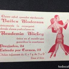 Documentos antiguos: BAILES MODERNOS INVITACION CABALLERO PRECIADOS 24 ACADEMIA MICKEY ORQUESTA ODIMEY MADRID AÑOS 30 40. Lote 207998501