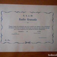 Documentos antiguos: RADIO GRANADA. E.A.J. 16. DIPLOMA FINALISTA ARTISTAS NOVELES. AÑOS 40. NUEVO, SIN USO. MUY RARO. Lote 208176583